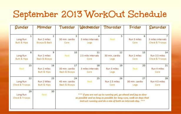 September 2013 Work Out Schedule